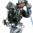 Stock Photo: Alpinist facing harsh blizzard