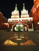 Km 0 em Moscou por noite — Fotografia Stock