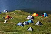 Alpine camping platz — Stockfoto