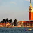 St. Mark's Campanile is the bell tower of St. Mark's Basilica in Venice, Italy, located in the Piazza San Marco (98.6 metres - 323 ft. tall) — Stock Photo