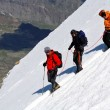 Team of alpinists descending an icy slope — Stock Photo