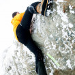 Free climbing in winter conditions — Stock Photo