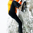 Stock Photo: Free climbing in winter conditions