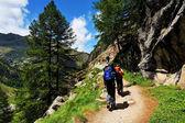 Bergsteiger stammen aus den grand paradiso — Stockfoto