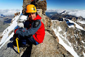 Alpinist on Gran Paradiso Peak, Italy — Stock Photo