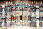 Voronet Monastery painted wall, Unesco Heritage, Moldavia, Romania — Stock Photo