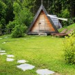 Wooden camping house near the forest — Stockfoto