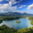 Panoramic view of Bled Lake, Slovenia — Stockfoto