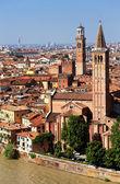 Sant' Anastasia Church and Torre dei Lamberti (Lamberti Tower), Verona, Italy, Europe — Stock Photo