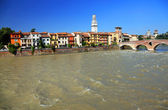 Ponte Pietra and the River Adige, Verona, Italy, Europe — Stock Photo