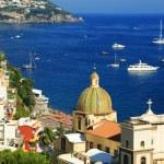 Boats in the sea. Positano on the Amalfi Coast, Italy, Europe — Stock Photo #27899729