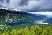 Stormy clouds over Lake Bohinj, Slovenia, Europe — Stock Photo