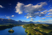 View of St. Mary Church of the Assumptionon, Bled Lake, Slovenia — Stock Photo
