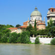 Saint George's Church on Adige River Bank, Verona, Veneto, Italy — Stock Photo