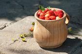 Il piatto in legno con fragole — Foto Stock