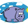 Funny cartoon hippo — Stock Vector