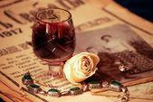 şarap ile vintage natürmort — Stok fotoğraf