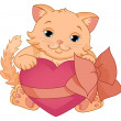 Kitty with heart. Valentines Day. — Stock Vector