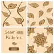 Set of brown seamless patterns with leaves. — Stock Vector
