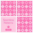 Set of cute pink girlish seamless patterns. — Imagen vectorial