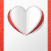 Card with a paper heart. Origami heart. — Stockvektor