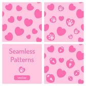 Uppsättning rosa seamless mönster med hjärtan. — Stockvektor