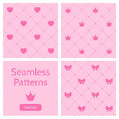 Set of cute pink girlish seamless patterns. — Vector de stock