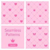 Uppsättning söta rosa flickaktiga seamless mönster. — Stockvektor