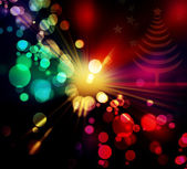 Abstract red, green, yellow and pink circular bokeh background of Christmas light — Stock Photo