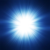 Sun on blue sky with lenses flare — Stock Photo