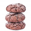 Chocolate cookies isolated on the white background — Stock Photo