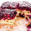 Fresh currant blueberry Pie with Oatmeal Crust on paper — Stock Photo