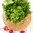 Fresh vegetables in a bowl wicker basket on white — Stock Photo