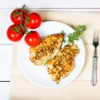 Grilled chicken breasts fillet with fresh vegetables on a white — Stock Photo
