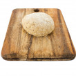 Raw ball of dough on wooden board isolated on white — Stock Photo #25966049