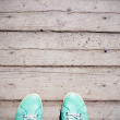 Grunge Wood antique panels and green shoes for background — Stockfoto