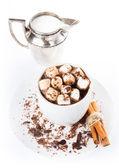 Hot dark chocolate with mini marshmallow, cinnamon and milk in a — Stock Photo