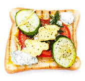 Fresh toast with bread, fried eggs, vegetables and cream — Stock Photo