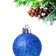 Christmas shiny blue ball on fir branches with decorations — Stock Photo #29600231