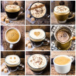 Stock Photo: Coffee collage with Coffee espresso, cappuccino, latte and mocha.