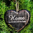 Heart shaped  decor sign desk Home country style on green plant  — Foto de Stock