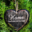 Heart shaped  decor sign desk Home country style on green plant  — Foto Stock