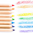 Close up of color pencils with different color over white background — Stock Photo #29600769