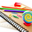 Back to school supplies with Notebook and pencil on white  background.  — Stock Photo