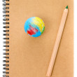 School Globe and recycle craft notebook on white background. — Stock Photo #29600997