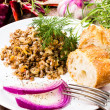 Russian cuisine. Buckwheat porridge, bresd, red onion  and herbs. — Stock Photo