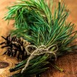 Conifer branch and cone tied with ribbon on wooden  — Stockfoto