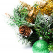 Christmas decoration with Fir branch Christmas and cones   on white background — Stock Photo