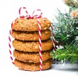 Decorated Christmas Gingerbread cookies with almond and brown sugar — ストック写真