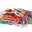 Colored paper clips. Isolated on white background. — Stock Photo #29601469